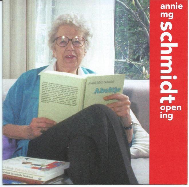 Voorzijde openingsprogramma tentoonstelling gewijd aan Annie M.G.Schmidt, 5 maart 2009 in Openbare Bibliotheek Amsterdam
