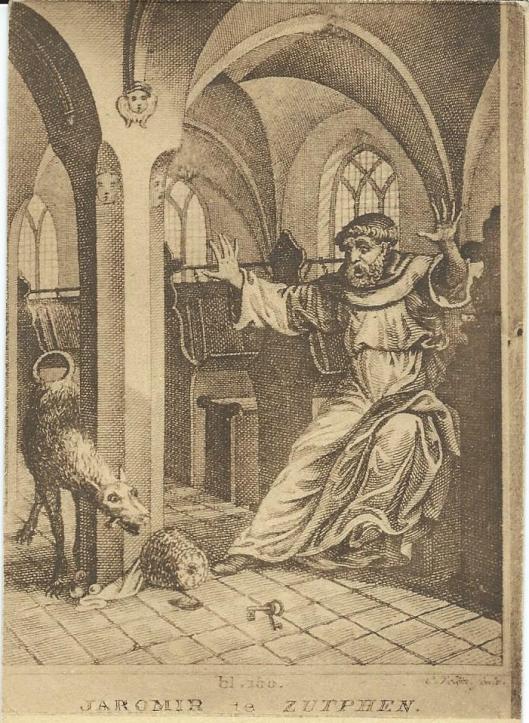 Voorstelling van een legende van A.C.W.Staring uit 'Jaromir te Zutphen'(1832). Het gaat over het verhaal van de duivel die een argeloze monnik een loer tracht te draaien. De satan zou hen als hond overvallen hebben, toe de monnik zijn gelofte om er te vasten verbrak.