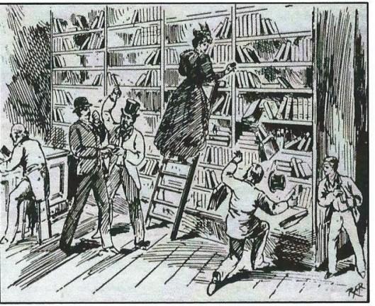 Cartoon uit 1895 'Chaos in de bibliotheek van Canterbury' nadat 'free access' ofwel open uitlening was ingevoerd