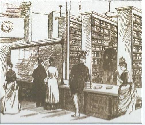 Tekening van de oude bibliotheek in Canterbury die eind 1898 is gesloten en beschikte over 1.500 naslagwerken en circa 3.000 boeken voor de uitleen.