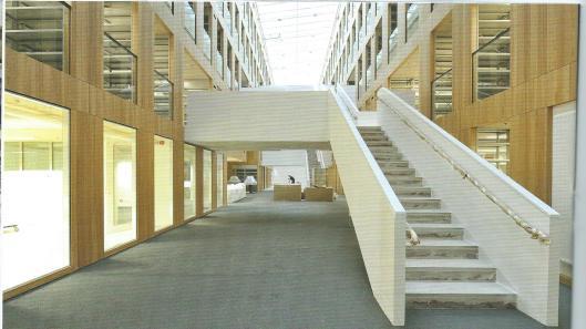 Neue 'Bücherkubus' van de Landes- und Universitätsbibliothek in Halle, waar in 2015 800.000 boeken op het gebied van de geesteswetenschappen, afkomstig uit 7 instituutsbibliotheken worden opgeslagen.