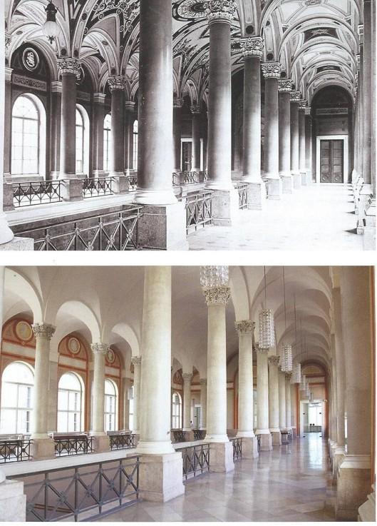 De noordgalerie van het trappenhuis richting vorstenzaal in de Bayerische Staatsbibliothek, München.