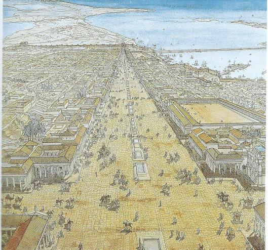 Reconstructie van het centrum van Alexandrië, gezien vanaf de 'Canoptische weg' (boulevard). Aquarel door J.P.Golvin, uit: Alexandria Rediscovered. London, 1998 (Staikos).