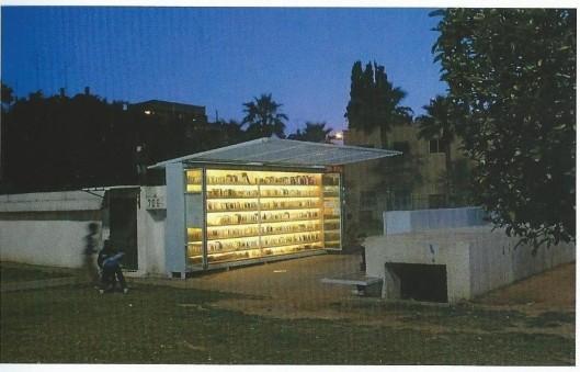 De Levinsky Tuin Bibliotheek nabij het Centraal Station van Tel Aviv is in 2009 opgericht en oorsptonkelijk gebouwd als openbre schguilplaats tegen bommen. (Alex Johnson, Buitengewone bibliotheken)