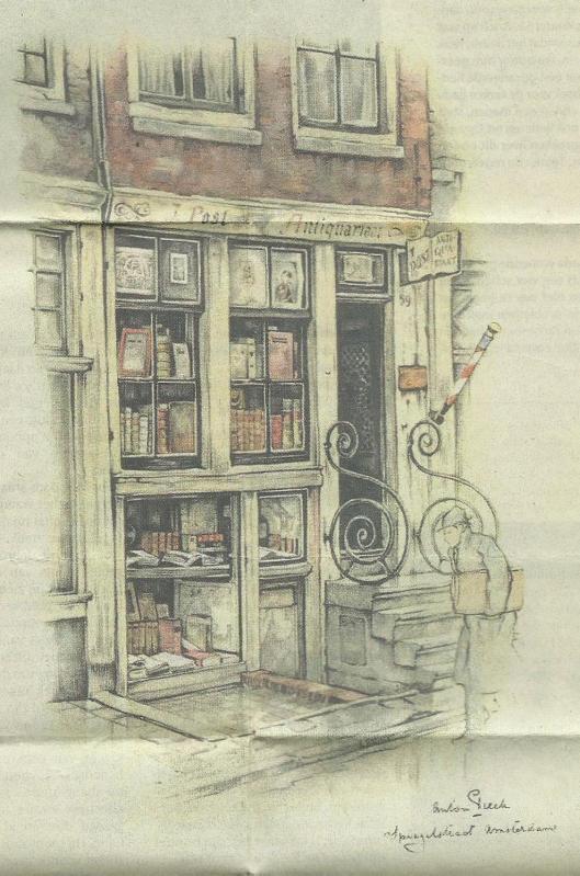 Het antiquariaat van Jan Post aan de Nieuwe Spiegelstraat 59 te Amsterdam, getekend door Anton Pieck omstreeks 1940.