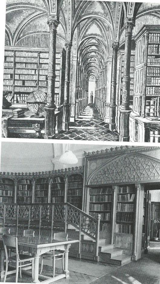 Boven de oude boekenzaal in het gebouw van de Hongaarse Academie voor Wetenschappen in Budapest en onder: de leeszaal van de Oosterse afdeling van de Hongaarse Academie.