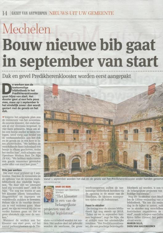 Bouw nieuwe stadsbibliotheek in september van start. Uit: Gazet van Amsterdam, 7 augustus 2015