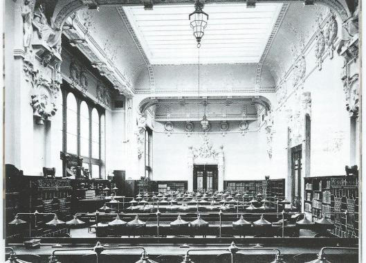 Historische leeszaal van de universiteitsbibliotheek Heidelberg in 1905