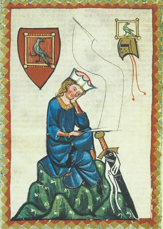 Miniatuur met voorstelling van de Duitse minnezanger en dichter Walther von der Vogelweide (1170-1230) uit Codex Manesse, universiteitsbibliotheek Heidelberg