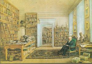 Alexander von Humboldt in zijn werkkamer-bibliotheek in de Oranienburgerstrasse te Berlijn. Aquarel door Eduard Hildebrandt (1856) in bezit van The Royal Geographical Society, London