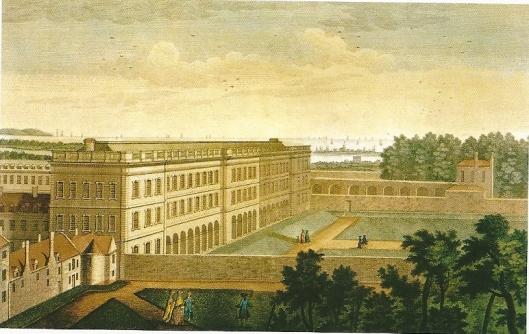 Trinity College Library op een aquarel uit de 18e eeuw.