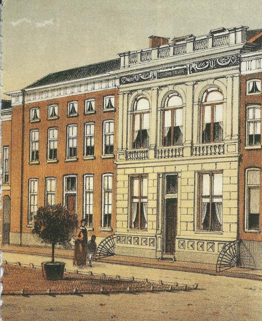 Afbeelding van het Leesmuseum in Arnhem (met witte gevel) omstreeks 1850