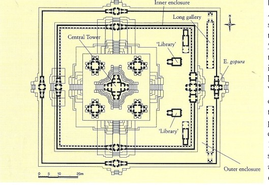 Plattegrond Angkor Vat tempelcomplex (Cambodja) met ligging van 2 voormalige manuscriptenbibliothekem