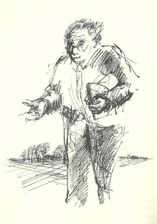 Illustratie van Marisca Reinders bij artikel van Ruud Vreeman over 'meester Meijer' in boek: 'De factor arbeid' (1993).