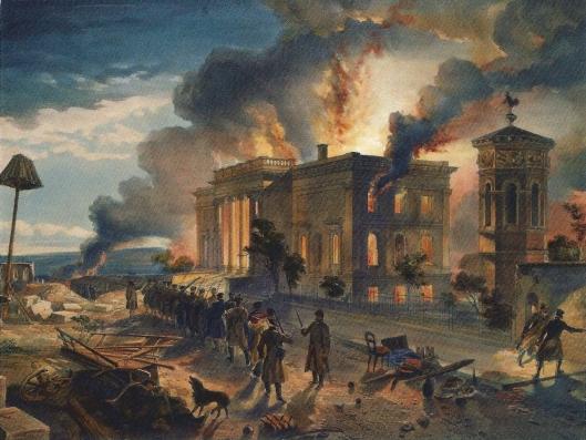 Verwoesting van de openbare bibliotheek van Sevastopol, Ukraïne, 8 september 1855 op een schilderij van W.Simpson, later ook gelithografeerd door E.Walker