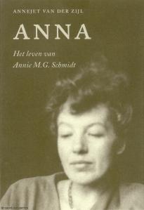 Promotiekaart boek 'Anna' van Annejet van der Zijl (Uitg. Nijgh & Van Ditmar/Chris van Houts)