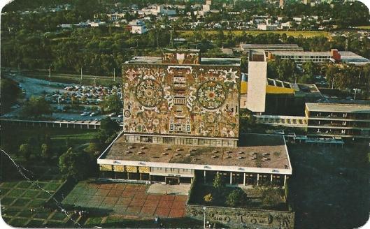 Universiteitsbibliotheek van Mexico-stad met mozaïeken van Juan O'Gorman