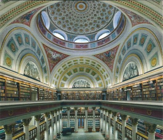 Interieur van Nationale en Universiteitsbibliotheek Helsinki, Finland