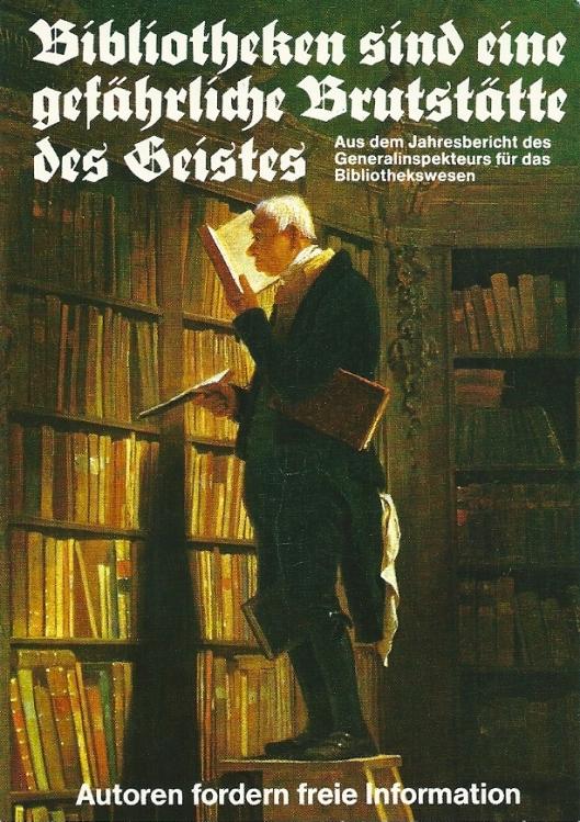 Klaus Staeck (1978) naar Carl Spitzweg: 'Der Bücherwurm'