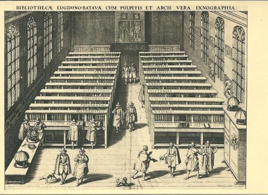 De bibliotheek van de Leidse Universiteit in 1610 naar een gravure van J.C.Woudanus