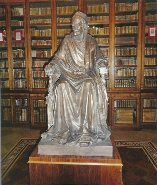 De Voltaire-bibliotheek in de Nationale Bibliotheek van Rusland in Sint Petersburg. Het beeld van Voltaire werd geschonken door Paul Getty Jr.
