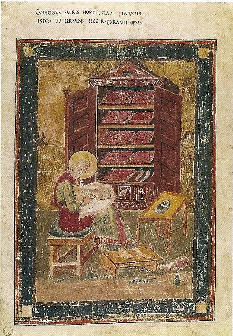 Cassiodorus (circa 480-5), stichter van het klooster en de bibliotheek van Vivarium in Calabrië. Blad uit de Codex Amiatinus, daterend uit de 8ste eeuw in de Biblioteca Medicea Laurenziana in Florence.