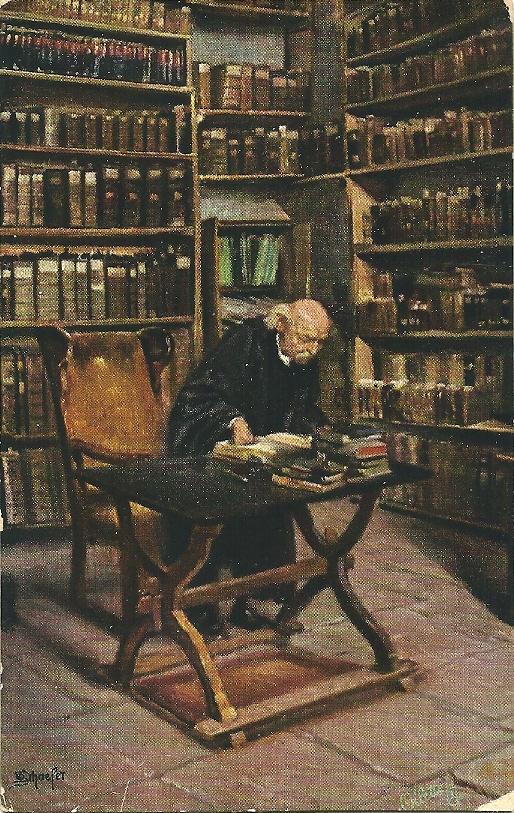 Bibliothek der Pfarrkirche in Michelstadt op een schilderij van prof. M.Schaefer