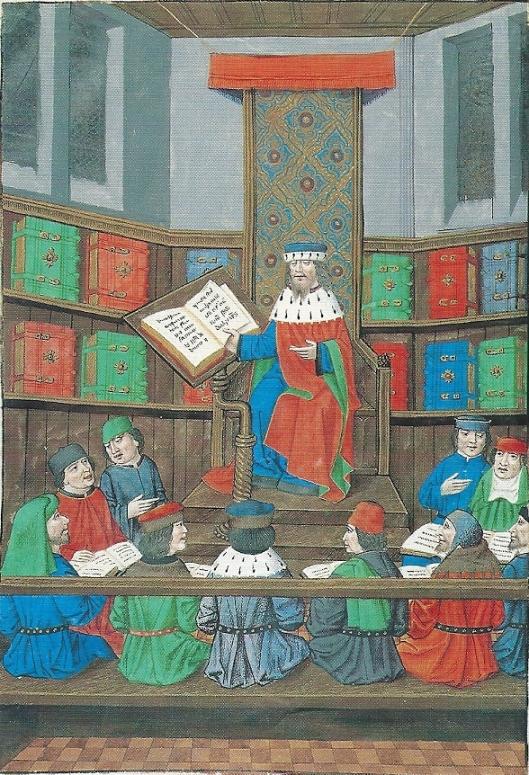 De redenaar Cicero in zijn bibliotheek omringd door studenten. Miniatuur in Mercatellishandschrift, circa 1486, in Universiteitsbibliotheek van Gent