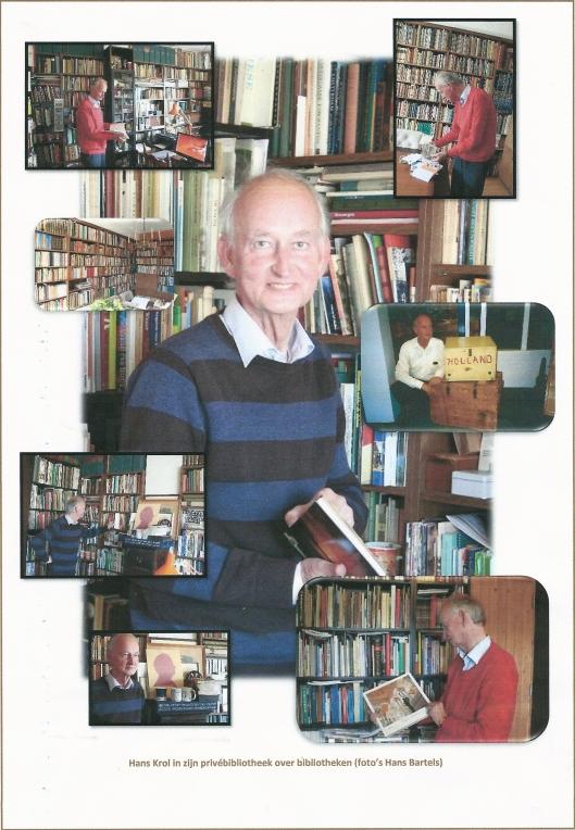 Hans Krol in zijn privébibliotheek over bibliotheken (foto's Hans Bartels)