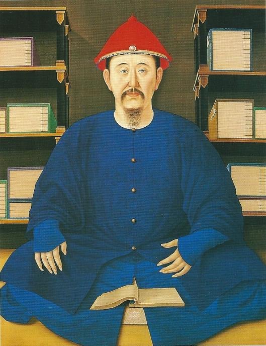 Chinees keizer Kangsi in zijn bibliotheek. Rolschildering op zijde. Beijing, paleismuseum 'De Verboden Stad'.