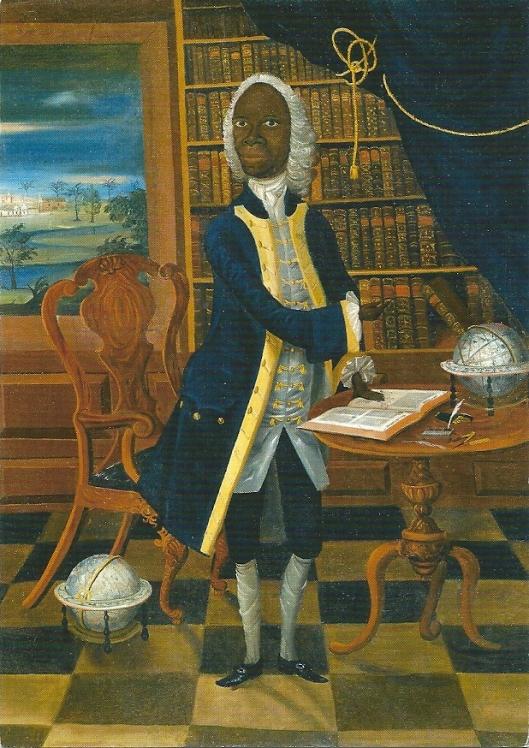 De Jamaicaanse geleerde Francis Williams in zijn bibliotheek. Anoniem schilderij uit circa 1745 in Victoria en Albert Museum, Londen