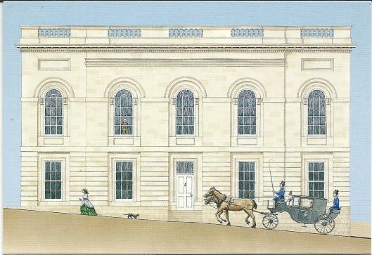 Tekening van Armagh Public Library uit 1853, in 1771 gesticht door aartsbisschop Robinson in Armagh, Ierland