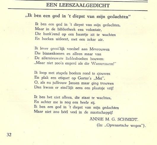 Een leeszaalgedicht van Annie M.G.Schmidt, zoals gepubliceerd in Bibliotheekleven van 1949