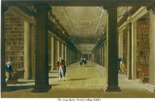 Laat 18e eeuwse gravure van de Long Room van de Old Library (Trinity College Dublin)