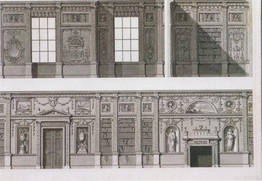 Dwarsdoorsnede van bibliotheek in Syon House, Londen, circa 1760-1769
