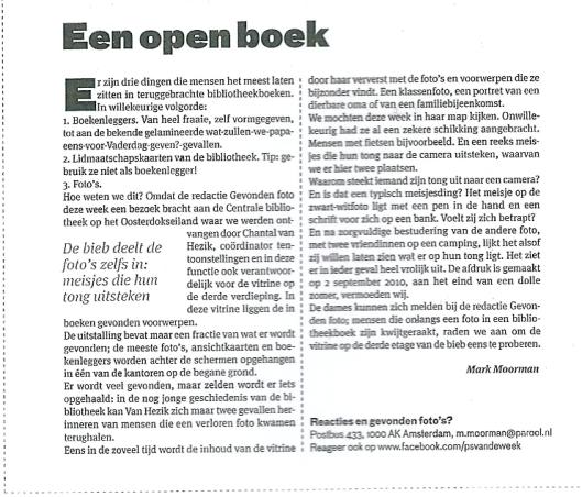 'Een open boek', uit Het Parool van 8 december 2012