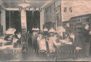 Uitnodigingslaart opening bibliotheekmuseum in centrale openbare bibliotheek, Prinsengracht 587