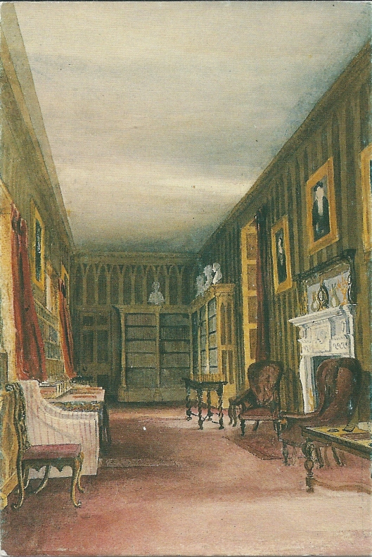 Library at Newstead, circa 1850