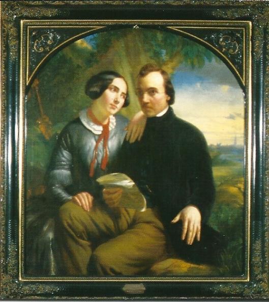 De dichter Jan van Beers en zijn verloofde (dochter van bibliothecaris Mertens) [foto AMVC van schilderij door Jan Bertou (1850)]