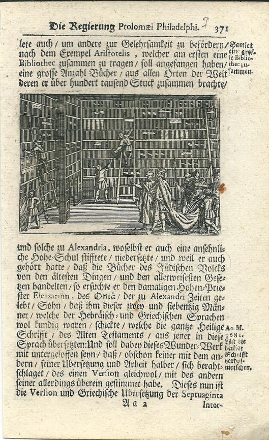 Pagina uit en Duits boek uit circa 1690 net een kopergravure van de oude bibliotheek in Alexandrië
