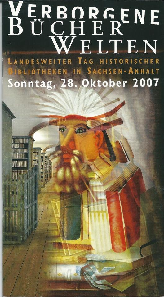Voorzijde van brochure: 'Verborgene Bücherwelten' in Sachsen-Anhalt, Duitsland (2007)