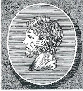 Demetrius van Phalerum. Gravure van een marmeren buste