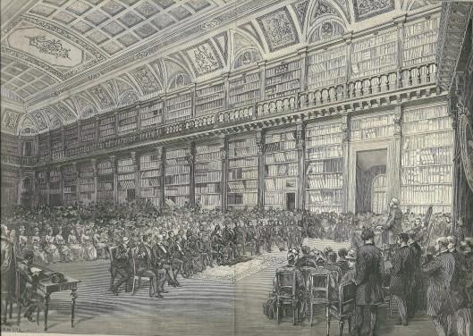 Gravure van opening 'sala Manzoniana' op 14 mei 1886 in de Biblioteca di Brera, Milaan.