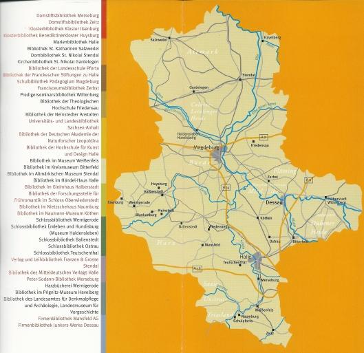Kaart van Sachsen-Anhalt met vermelding van bibliotheken