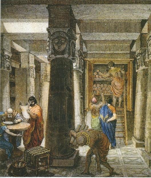 Imaginaire afbeelding van de bibliotheek van Alexandrië. Uit: H.Goll, die Weissen und Gelehrten des Altertums, II. Leipzig, 1876.