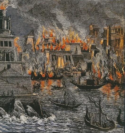 Denkbeeldige reconstructie-tekening van de stad Alexandrië in vlammen onder Caesar, 48 v.Chr. Uit H.Goll, Die Weissen und Gelehrten des Altherthums. 1878.