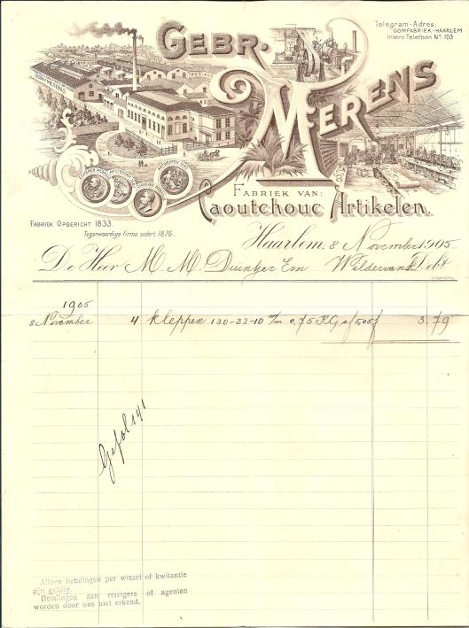 Nota met bijzonder briefhoofd van de eerste rubberfabiek in Nederland van de Gebr. Merens in Haarlem uit 1905.
