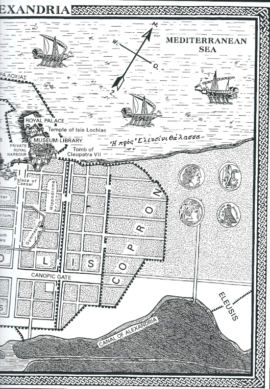 Deel van plattegrond klassiek Alexandrië, met ligging van de Universele Bibliotheek (Mouseion) en het paleis nabij de haven aan de Middellandse Zee. Uit: K.S.Staikos. The history of the library in Western civilization, I, 2004, p. 163.