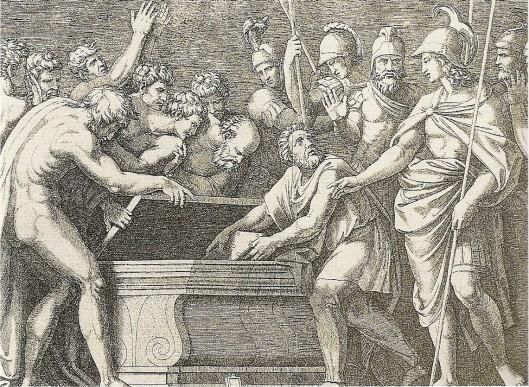 Denkbeeldige afbeelding van Alexander de Grote die de wetken van Homerus redt. Gravure door Marcantonio Raimondi (Bibliothèque nationale, Parijs)