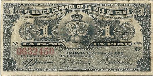 vondst: 1 peso (Spaanse bank van Cuba), 1896